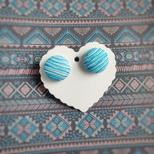Turquoise and White, Stripes, Fabric Button, Stud Earrings, Large pair