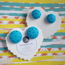 Black on Turquoise, Polka-dots, Fabric Button, Stud Earrings, 2 pairs