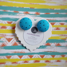 Black on Turquoise, Polka-dots, Fabric Button, Stud Earrings, Large pair