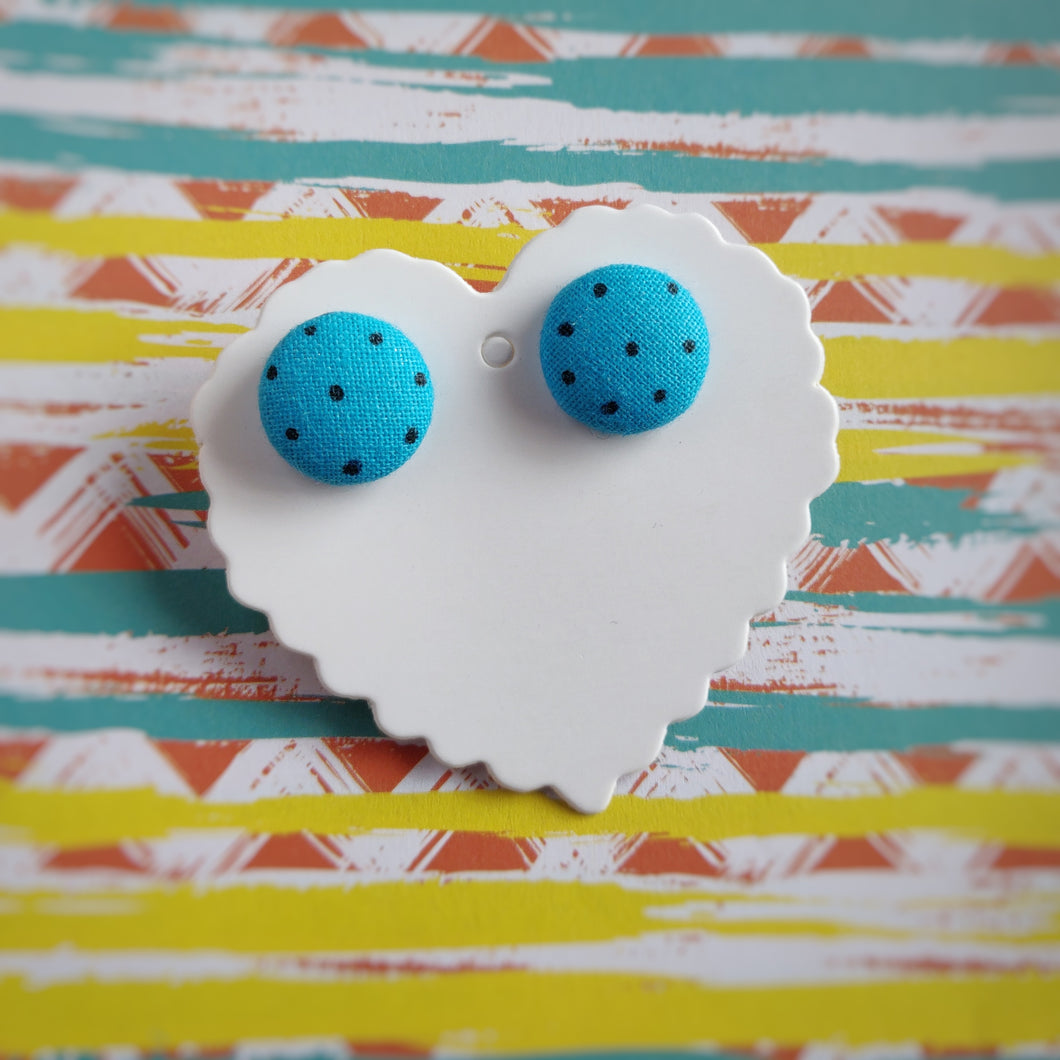 Black on Turquoise, Polka-dots, Fabric Button, Stud Earrings, Small pair