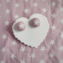 Stars, Fabric Button, Stud Earrings, Small pair, Dusty-pink