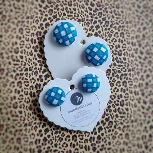 Turquoise-blue and White, Plaid, Gingham check, Fabric Button, Stud Earrings, 2 pairs