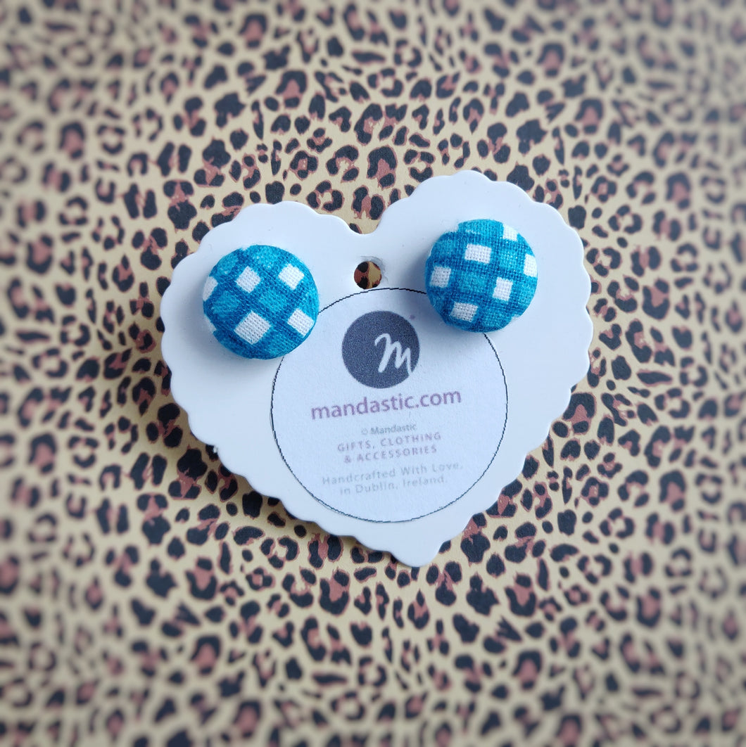 Turquoise-blue and White, Plaid, Gingham check, Fabric Button, Stud Earrings, Small pair