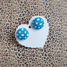 Turquoise-blue and White, Plaid, Gingham check, Fabric Button, Stud Earrings, Large pair