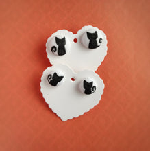 Black, Cats, Fabric Button, Stud Earrings, 2 pairs, White background colour