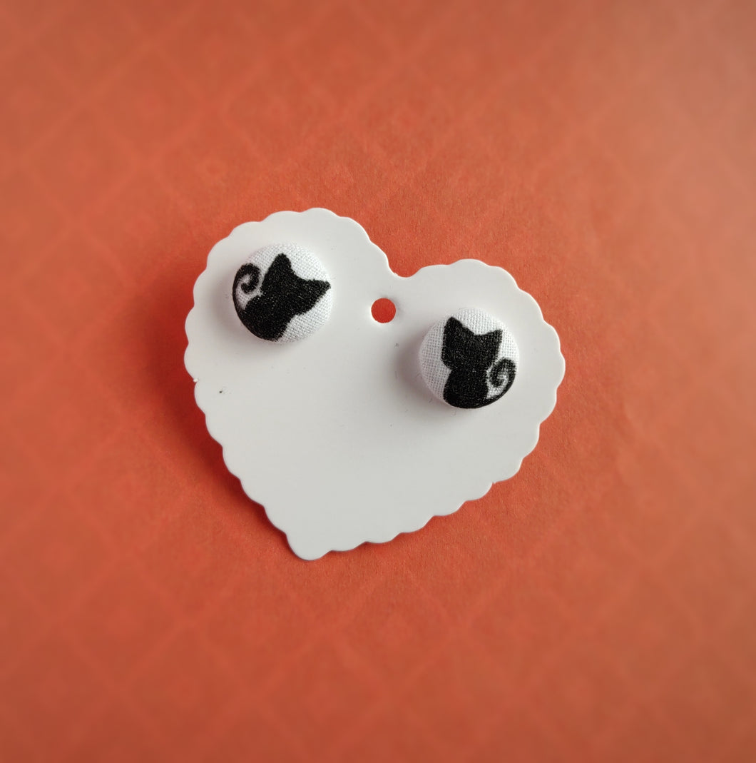 Black, Cats, Fabric Button, Stud Earrings, Small pair, White background colour