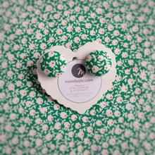 Green, Floral, Fabric Button, Stud Earrings, Large pair