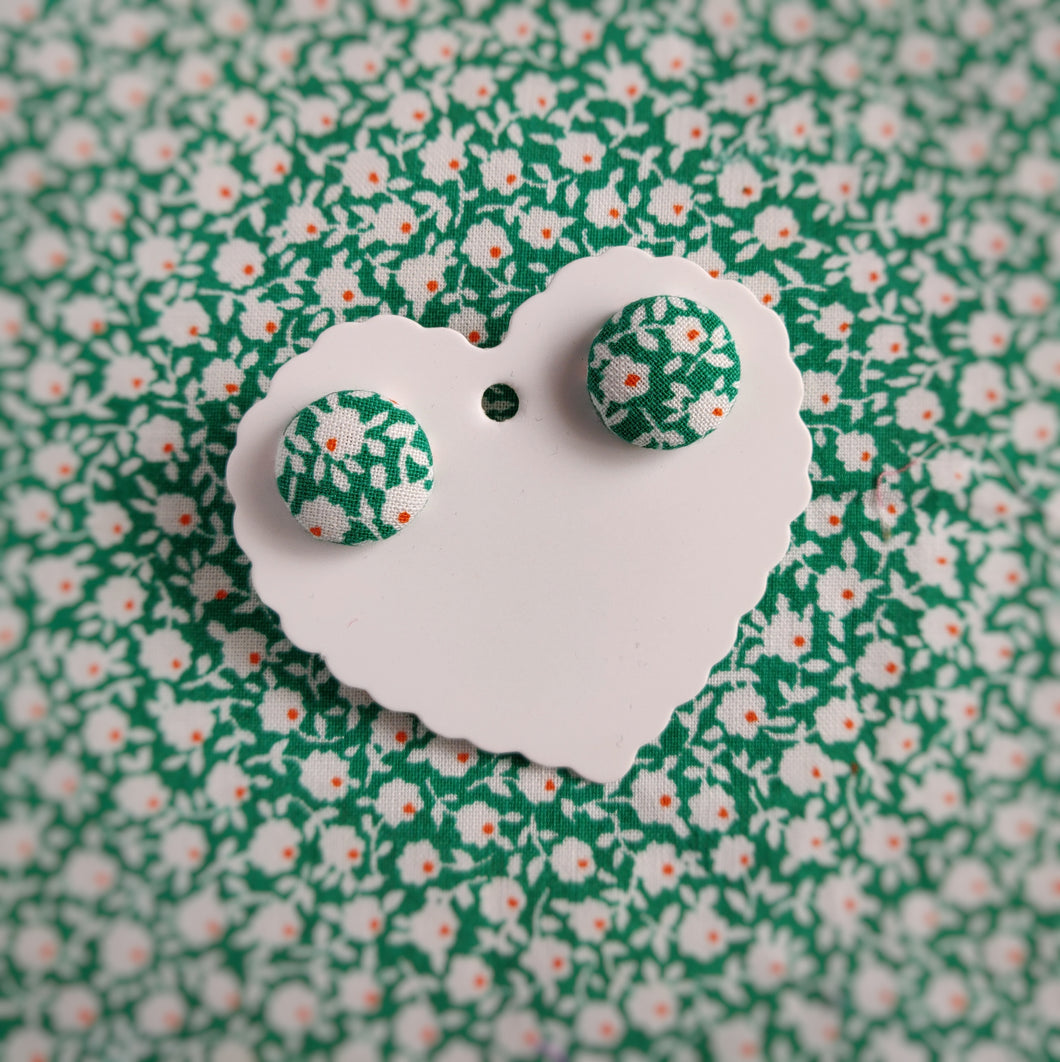 Green, Floral, Fabric Button, Stud Earrings, Small pair