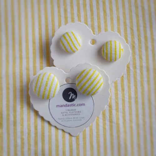 Yellow and White, Stripes, Fabric Button, Stud Earrings, 2 pairs