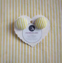 Yellow and White, Stripes, Fabric Button, Stud Earrings, Large pair