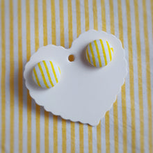 Yellow and White, Stripes, Fabric Button, Stud Earrings, Small pair
