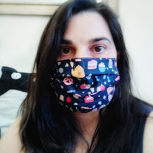 Eco-friendly face mask, face covering made with sweet pastry themed 100% cotton fabric. Colour: dark blue with pink details