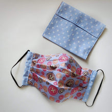 Eco-friendly face mask, face covering made with button themed 100% cotton fabric and a white on baby-blue polka-dot face mask case. Colour: Grey with hot-pink and colourful details