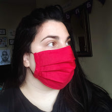 Eco-friendly face mask, face covering made with red 100% cotton fabric