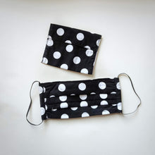 Eco-friendly face mask, face covering made with white on black big polka-dot 100% cotton fabric and a matching face mask case
