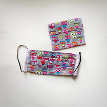 Eco-friendly face mask, face covering made with owl themed 100% cotton fabric and a matching face mask case. Colour: Grey with pink and colourful details