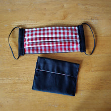 Eco-friendly face mask, face covering made with white and red gingham 100% cotton fabric and a black  face mask case