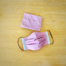 Eco-friendly face mask, face covering made with white on pink polka-dot 100% cotton fabric and a matching face mask case
