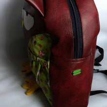 Grumpy owl, Dark Burgundy, Faux leather, Backpack