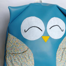 Happy owl, Petrol Blue, Faux leather, Backpack