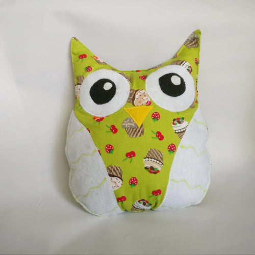 Handmade light green, Owl plush toy, Stuffed toy