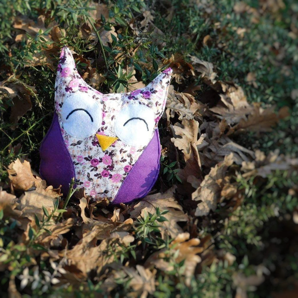 Handmade purple, Owl plush toy, Stuffed toy