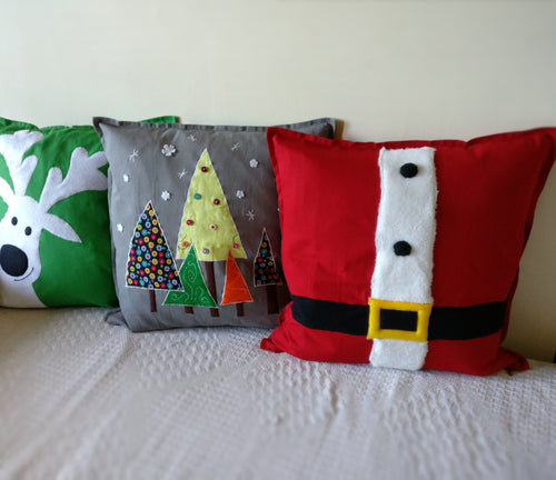 Handmade Christmas cushion, Throw cushion Cover, Pillow cover (Combo or Single)