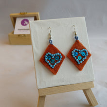 Ginger felt, cyan beads and sequins Geometric heart design Dangle Earrings
