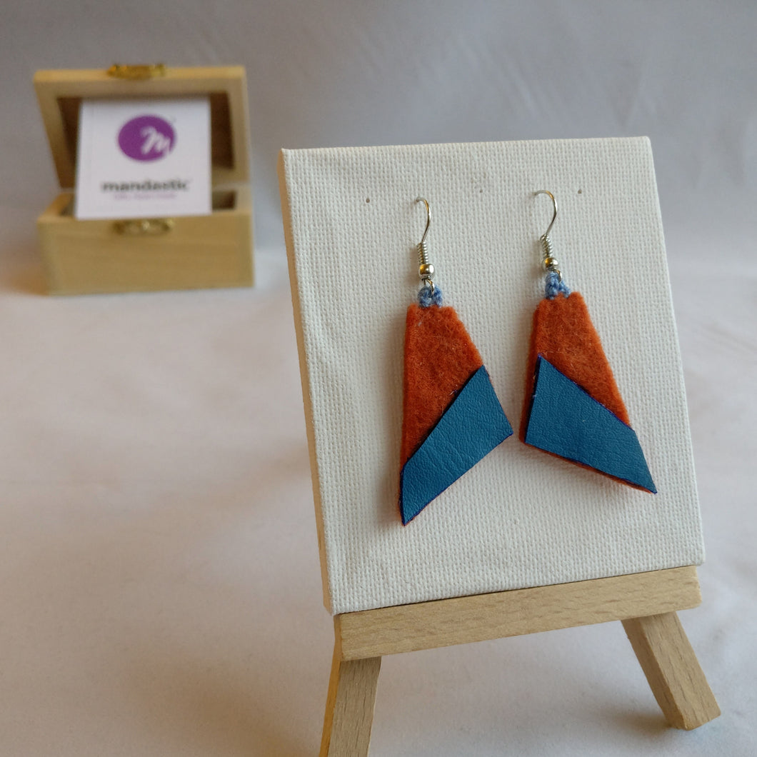 Ginger felt and blue green vinyl Geometric Dangle Earrings