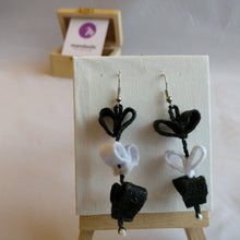 Black and white felt Triple Heart collection Dangle Earrings