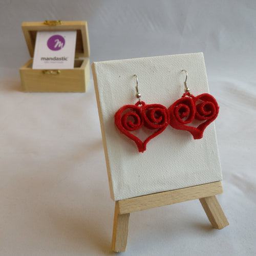 Red felt heart shaped dangle earrings