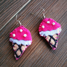 Deep pink, white, ivory Felt and white Beads Ice-cream cone Dangle Earrings