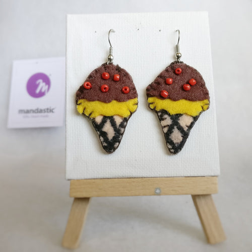 Brown, yellow, ivory Felt and red Beads Ice-cream cone Dangle Earrings