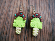 Lime green, brown, ivory Felt and teal Beads Ice-cream bar Dangle Earrings