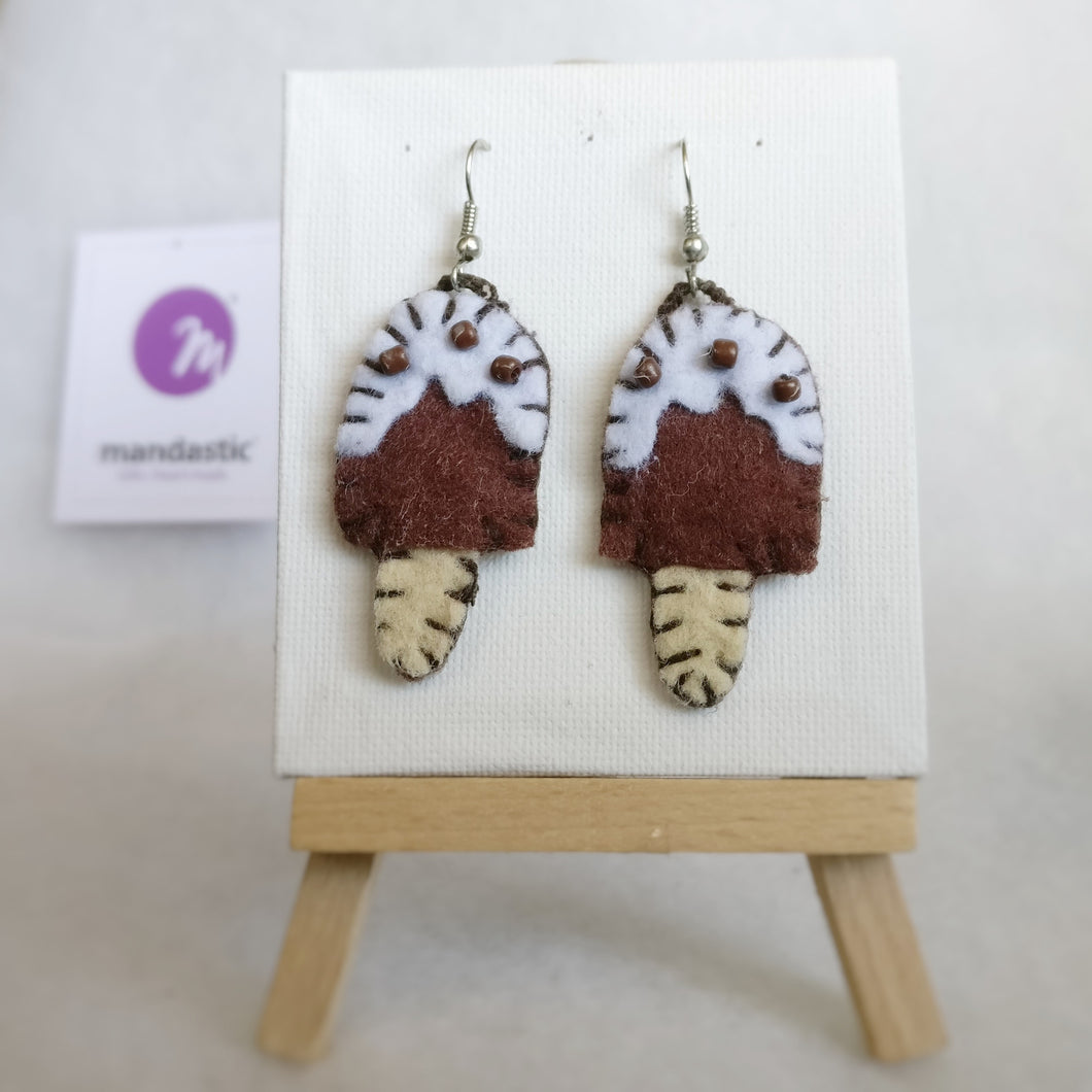 Brown, white, ivory Felt and brown Beads Ice-cream bar Dangle Earrings