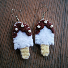 White, brown, ivory Felt and white Beads Ice-cream bar Dangle Earrings