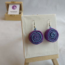 Purple and cyan felt Spiral Dangle Earrings