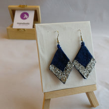 Dark blue felt and silver glitter Geometric Dangle Earrings