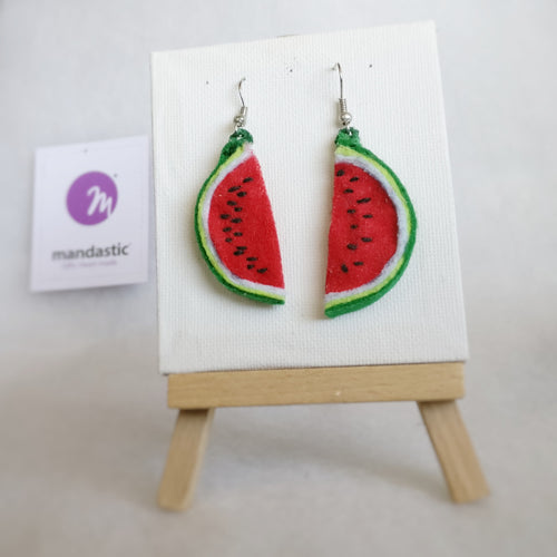 Watermelon Felt Dangle Earrings