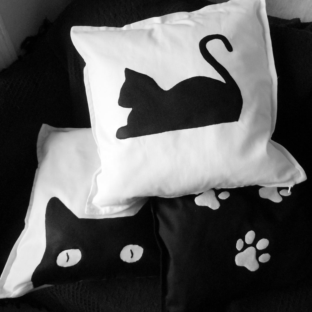 Black and white, Cat themed, Throw cushion Cover, Pillow cover (Combo)
