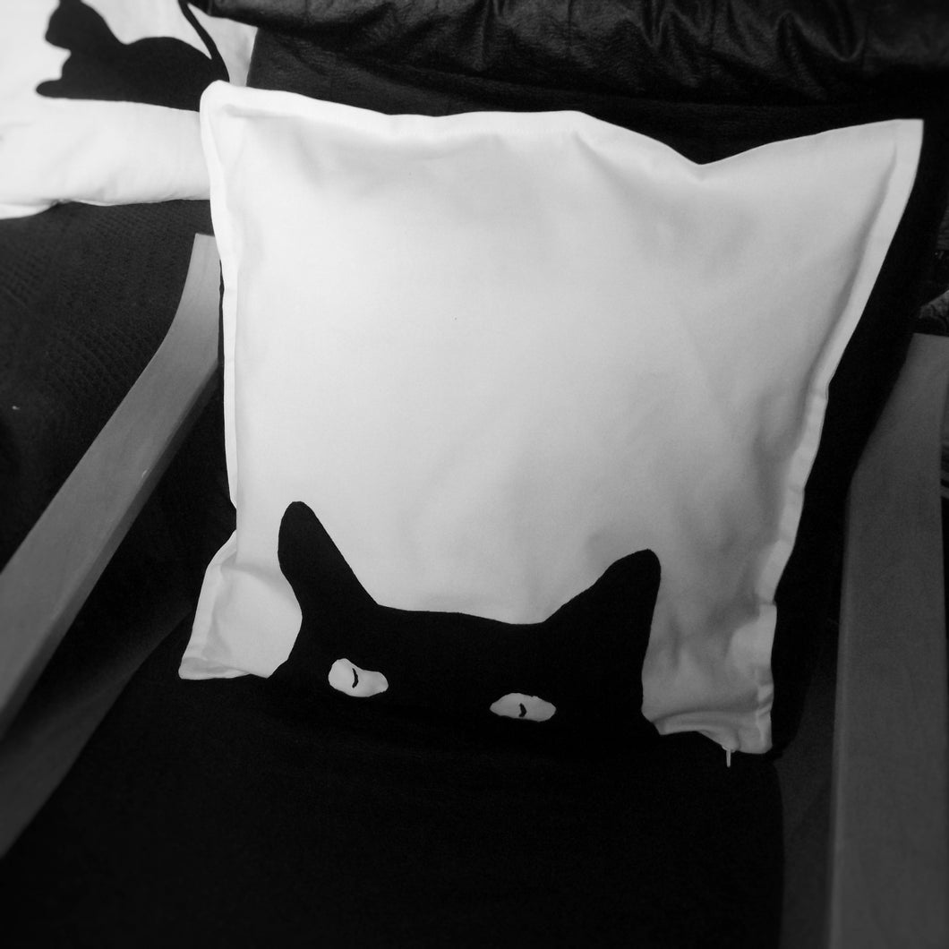 Black and white cat themed throw cushion cover pillow cover single