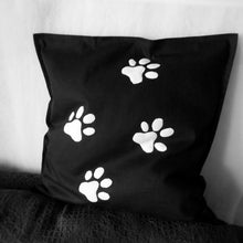 Black and white, Cat themed, Throw cushion Cover, Pillow cover (Single - cat paws)