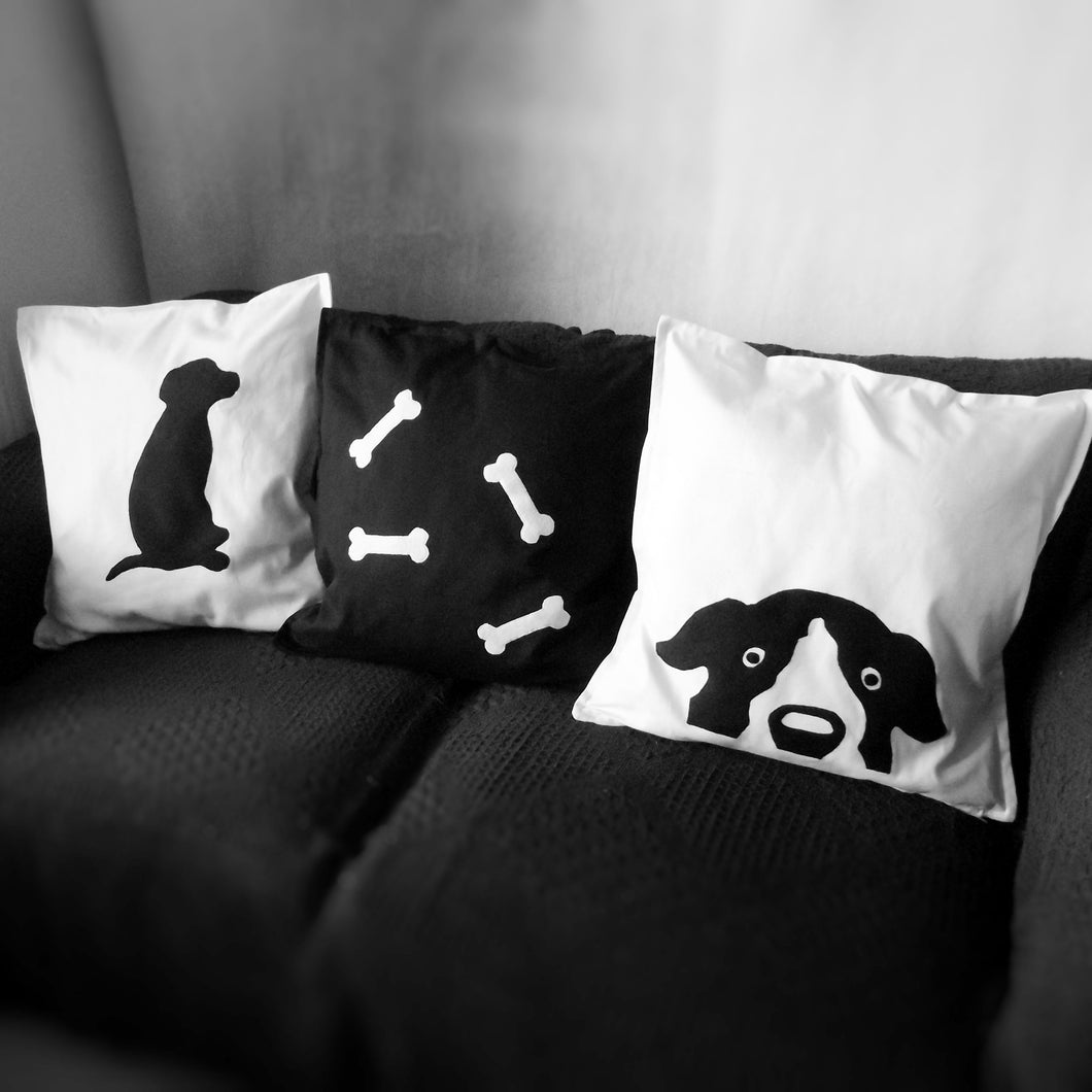 Black and white, Dog themed, Throw cushion Cover, Pillow cover (Combo or Single)