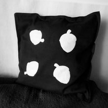 Black and white, Squirrel themed, Throw cushion Cover, Pillow cover (Single - acorns)