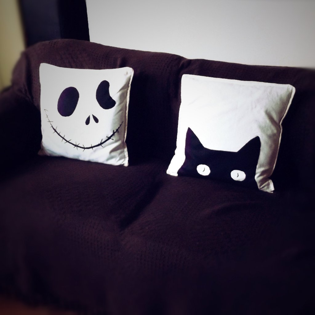 Black and white, Halloween themed, Throw cushion Cover, Pillow cover (Combo or Single)