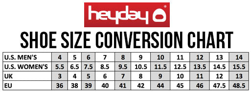 Heyday Footwear Shoe Size Conversion Chart