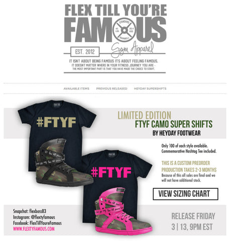 Flex Til You're Famous x Heyday Footwear Collab Gym Sneaker