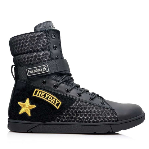 Image of #MyHeyday Black Tactical Trainer 2.0 High Top Sneakers for Bodybuilding