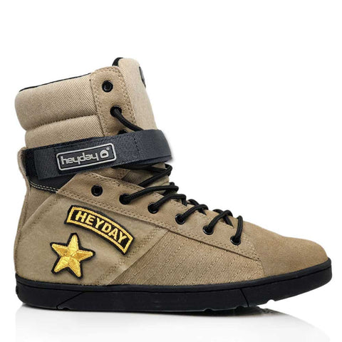 Image of #MyHeyday Sand/Black Tactical Trainer 2.0 High Top Sneakers for Bodybuilding