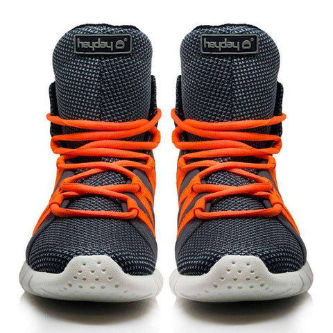 Image of Heyday Footwear Sneakers Charcoal/Safety Orange Super Freak 2.0 High Top Sneaker for Cardio and Bodybuilding